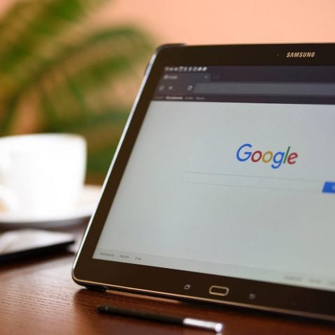 Google search on a Samsung tablet