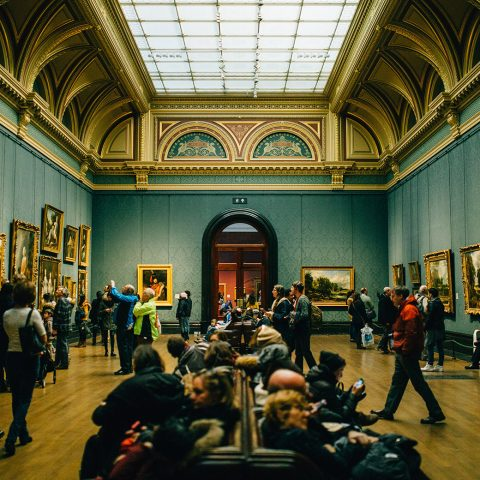 A busy art gallery in London