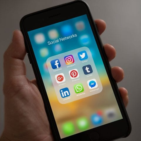 An Iphone menu, showing icons for all major social networks