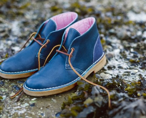 Blue and pink Clarks Originals shoes