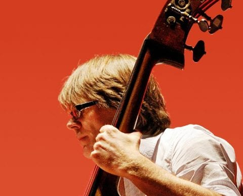 Man playing double bass, red background