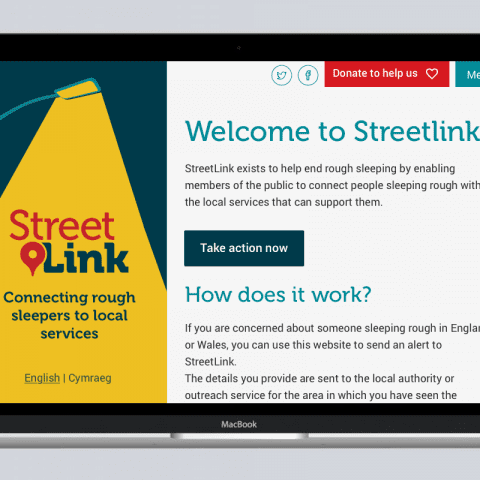 Streetlink website on an Apple MacBook