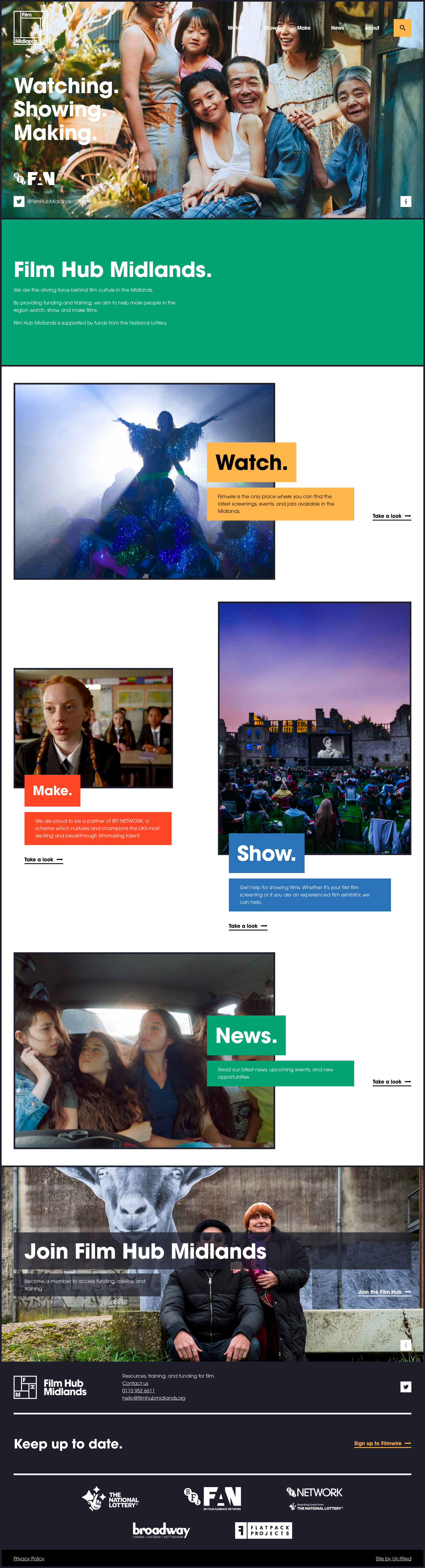 Screenshot of the Film Hub Midlands website
