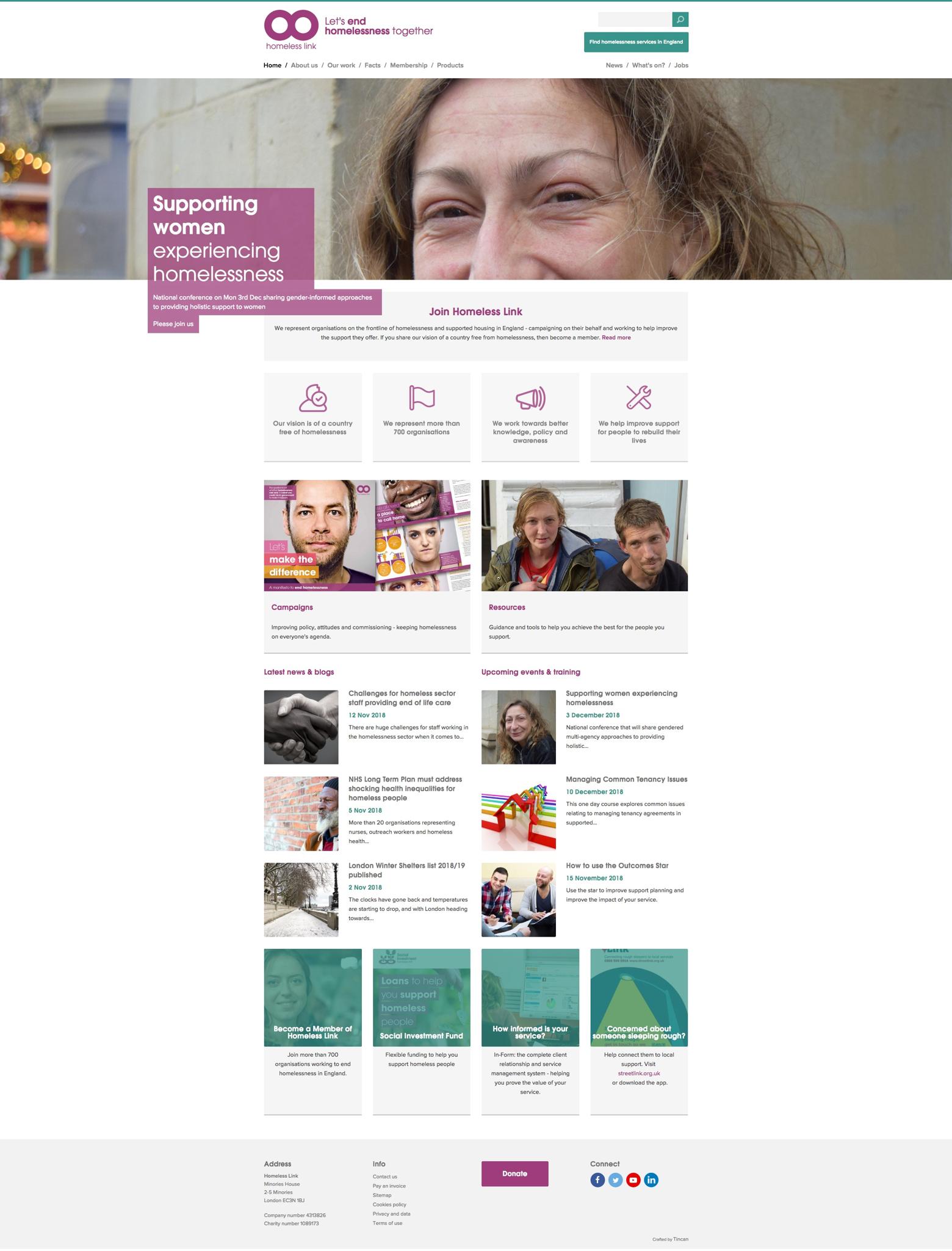 Screenshot of Homeless Link website