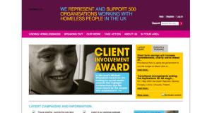 Screenshot of old Homeless Link website