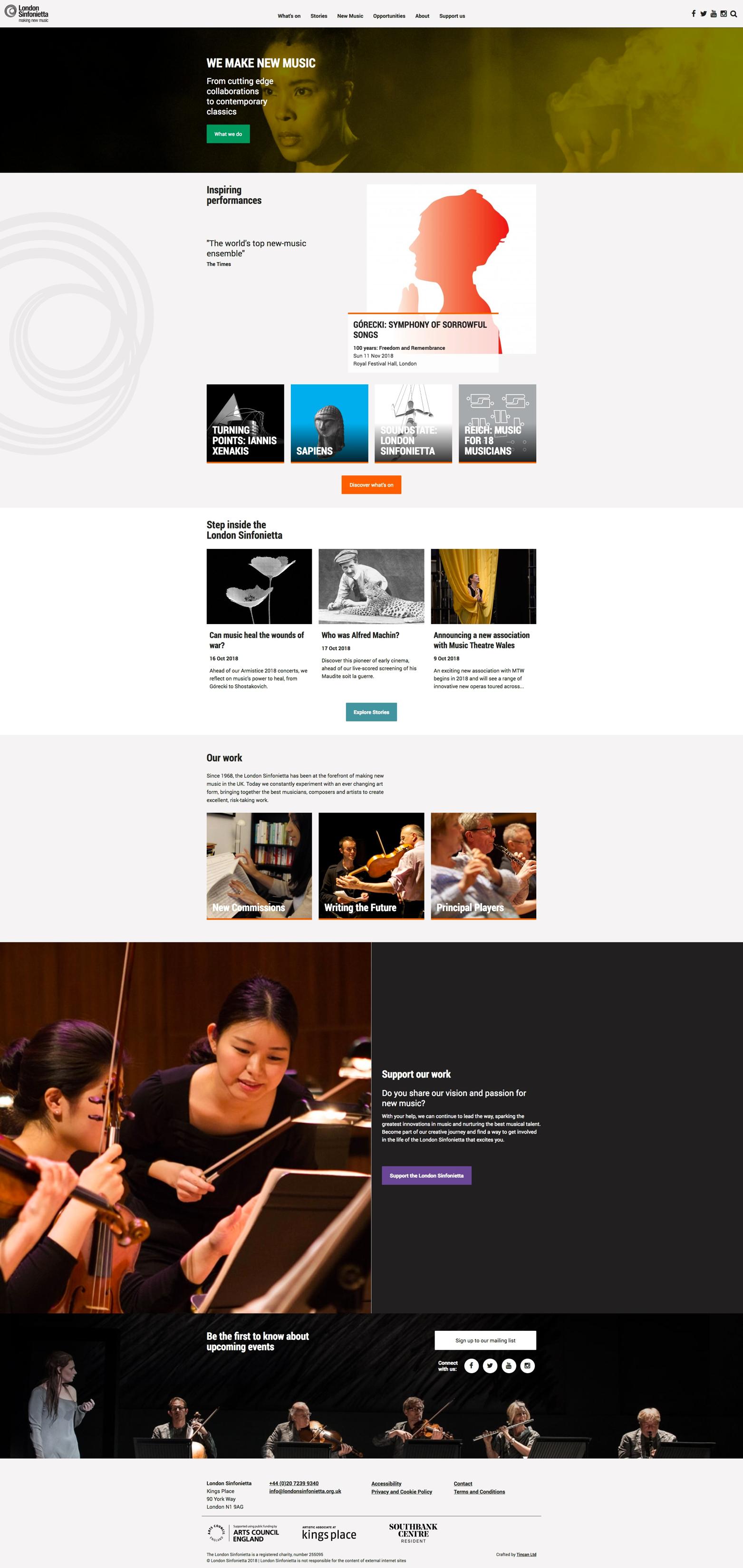 Screenshot of London Sinfonietta website