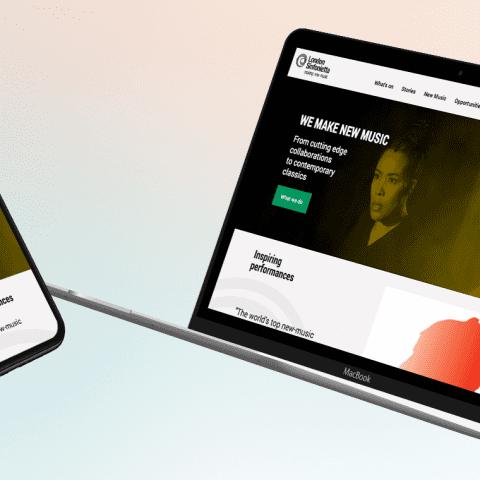 London Sinfonietta website on MacBook and smartphone