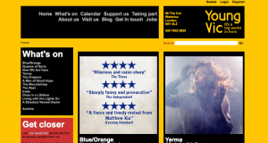 Screenshot of old website of Young Vic