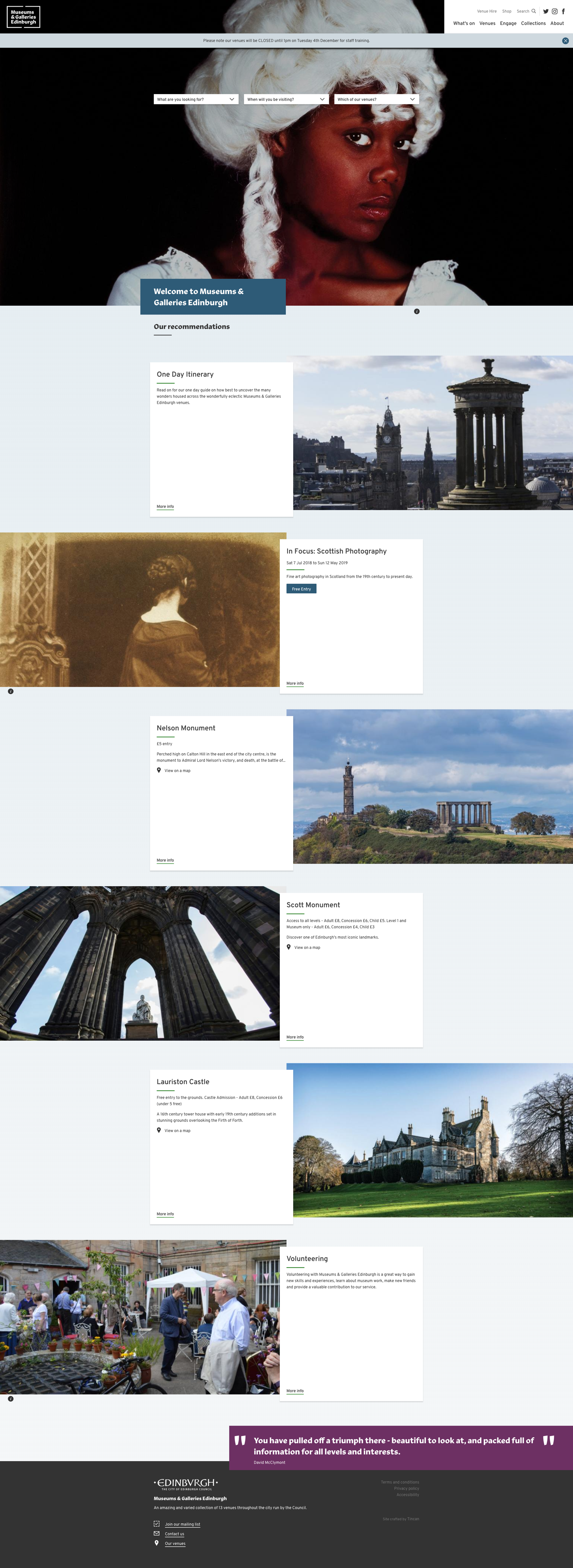 Screenshot of the Museums & Galleries Edinburgh website