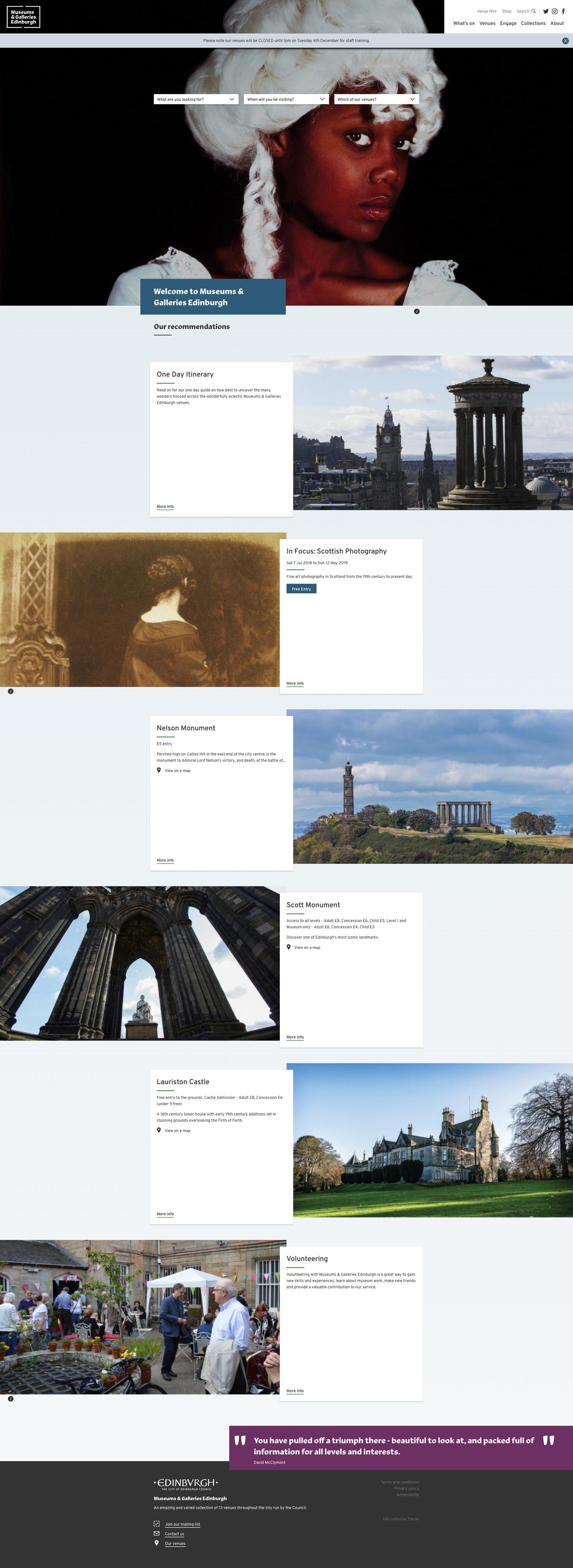 Screenshot of the Museums & Galleries Edinburgh website
