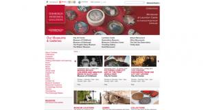 Screenshot of Museums and Galleries Edinburgh website