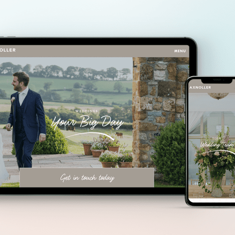 Axnoller Wedding Hire website, on tablet and smartphone