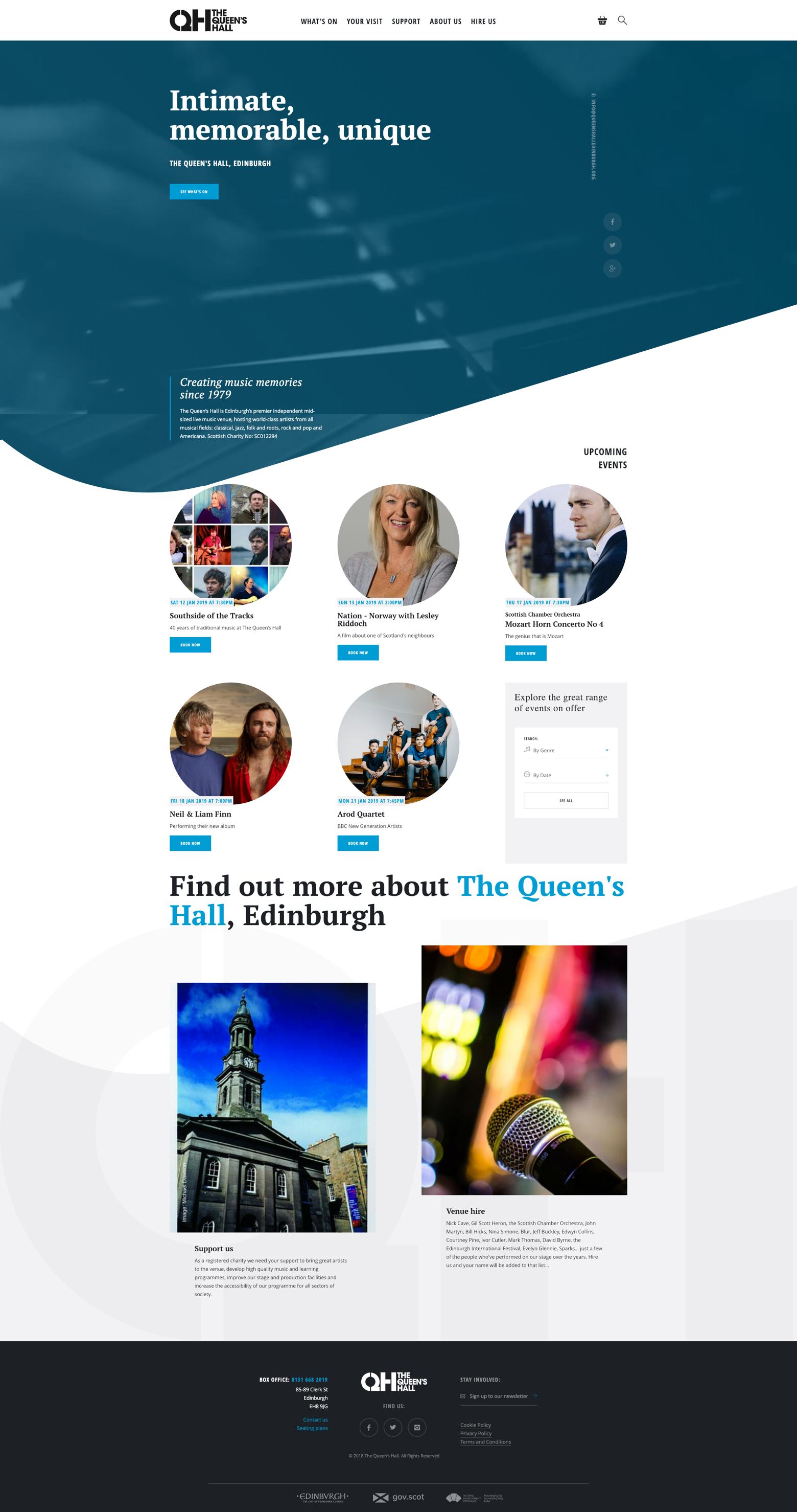 Screenshot of The Queen's Hall website