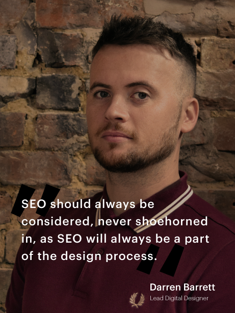 Darren Barrett with quote about SEO and design process