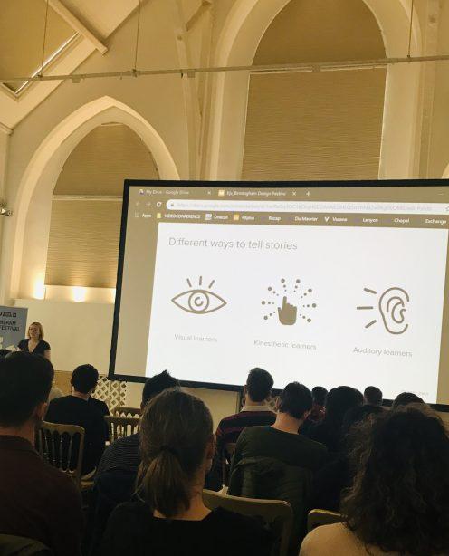 A presentation slide reading