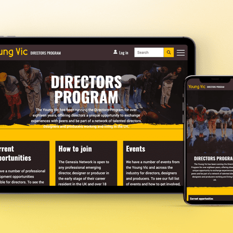 Young Vic Director's Programme website on tablet computer