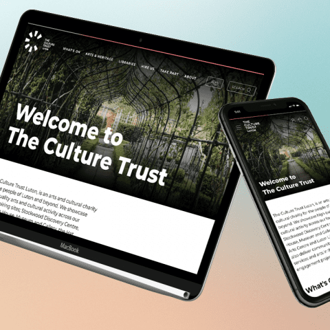 The Culture Trust Luton website on tablet and mobile
