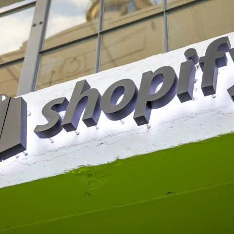 The Shopify logo on a storefront