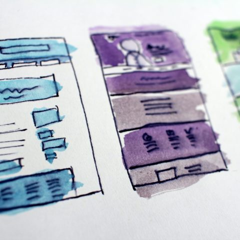A rough drawing of a site design in different colours