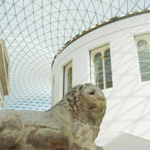 Lion statue at the British Museum